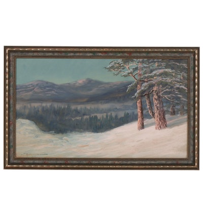 Winter Landscape Gouache Painting, 1911