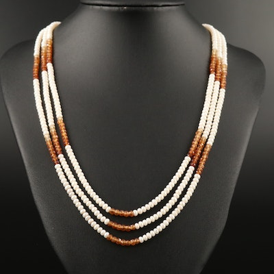 Pearl and Citrine Triple Strand Bolo Necklace