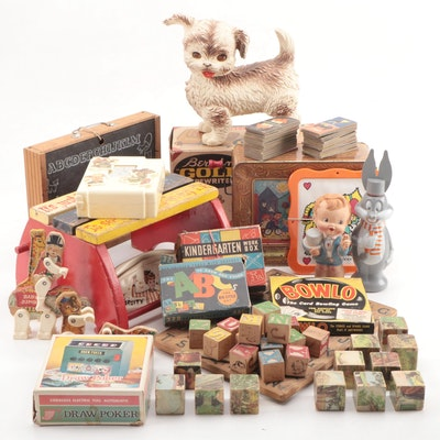 """Toys and Games Including """"Bugs Bunny Soaky"""" and Berwin Typewriter, Mid-20th C."""