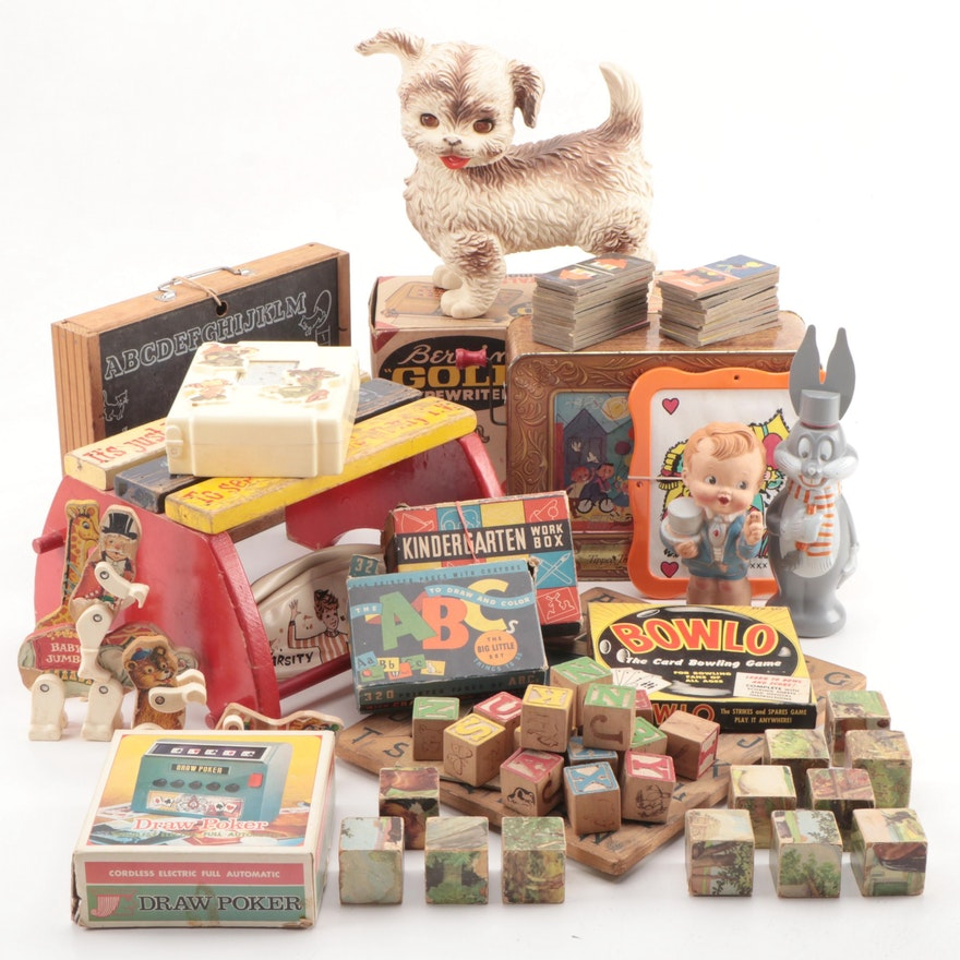 "Toys and Games Including ""Bugs Bunny Soaky"" and Berwin Typewriter, Mid-20th C."