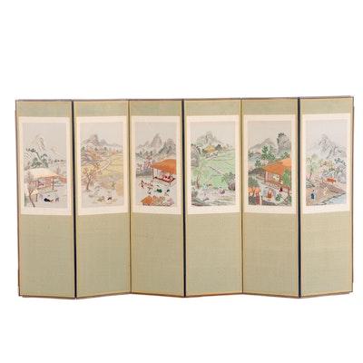 Korean Silk Embroidered Folding Screen with Village Landscape