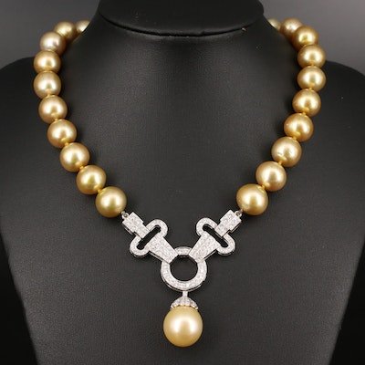14K Semi-Baroque Pearl and 3.00 CTW Diamond Necklace
