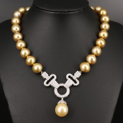 14K Semi-Baroque Pearl and 3.00 CTW Diamond Necklace