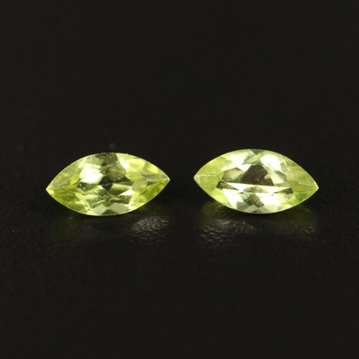 Matched Pair of Loose 1.29 CTW Marquise Faceted Peridots