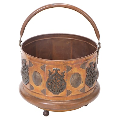 Embellished Copper Kettle with Applied Ball Feet
