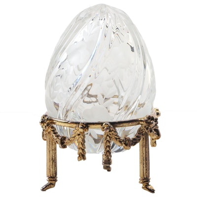 Fabergé Etched Crystal Egg Figurine with Garland Motif Metal Stand