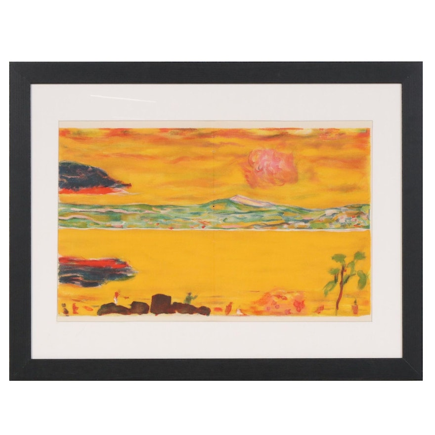 "Pierre Bonnard Color Lithograph ""Sunset on the Mediterranean"" for ""Verve"", 1940"