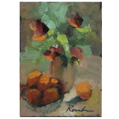Sally Rosenbaum Still Life with Oranges and Flowers Oil Painting, 21st Century