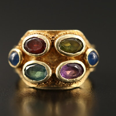 18K Bezel Set Sapphire, Tourmaline, Amethyst and Garnet Ring