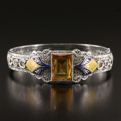 Circa 1930s Czech Glass and Enamel Filigree Hinged Bangle