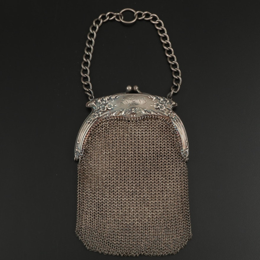 Art Nouveau Sterling Silver Framed Mesh Evening Bag, 1903