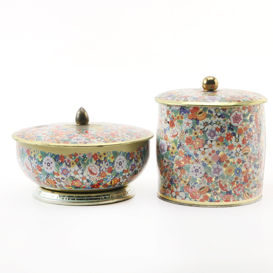 Floral-Patterned English Tins, Late 20th Century