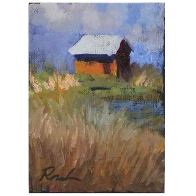 Sally Rosenbaum Landscape Oil Painting with Cottage, 21st Century