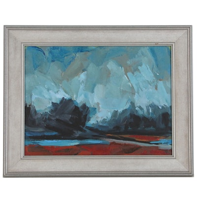 Roland Huston Abstract Acrylic Painting, Late 20th Century
