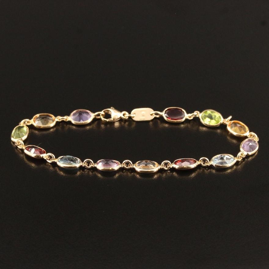 14K Oval Link Bracelet with Topaz, Garnet, Peridot, Citrine and Amethyst