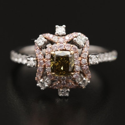 14K Diamond Ring with Double Diamond Halo