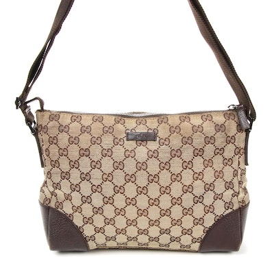 Gucci GG Canvas and Brown Leather Crossbody Bag