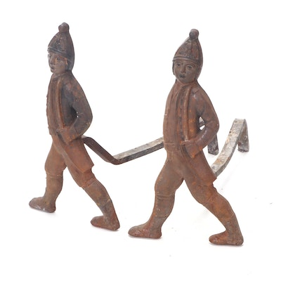 Cast Iron Hessian Soldier Fireplace Andirons