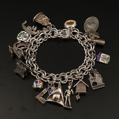 Vintage Sterling and 800 Silver Travel Charm Bracelet