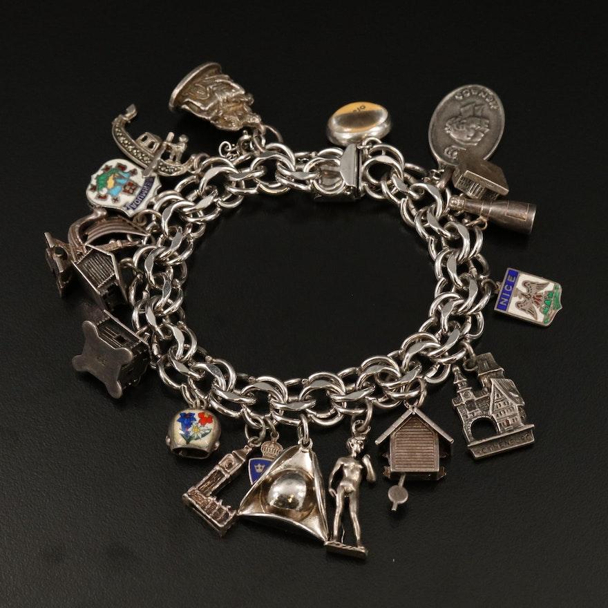 Vintage Sterling and 800 Silver Travel Charm Bracelet