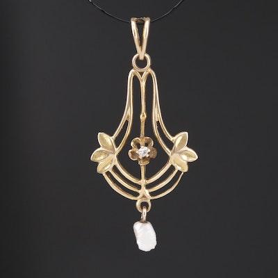 1900s 14K  Diamond and Pearl Lavalier Design Pendant
