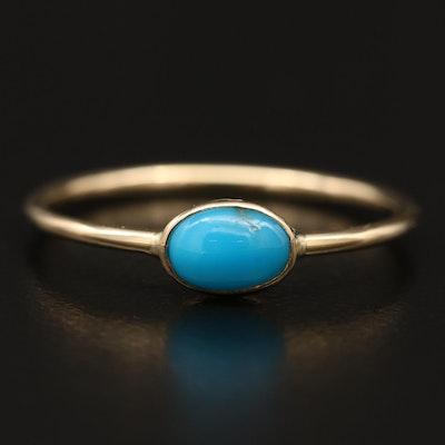 14K  Bezel Set Turquoise Ring