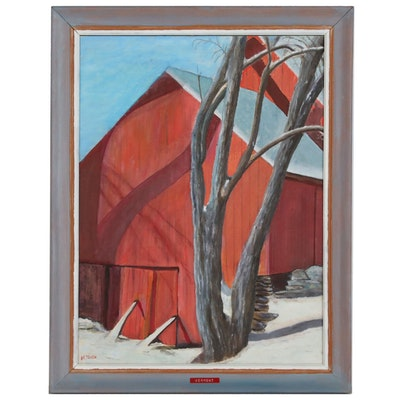 Oil Painting of Red Barn in Winter Landscape, Mid 20th Century
