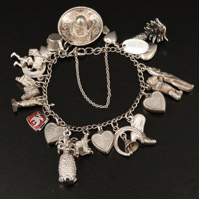 Vintage Sterling Silver Charm Bracelet with Enamel Accents