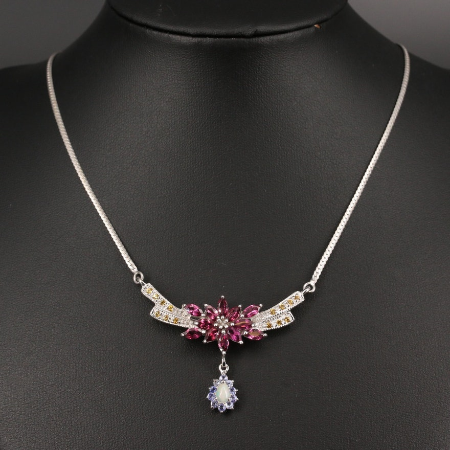 Sterling Silver Drop Necklace Featuring Garnet, Sapphire, Opal and Tanzanite