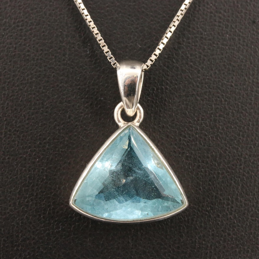 Sterling Silver Triangular Topaz Pendant Necklace