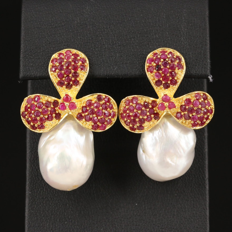 Sterling Corundum and Baroque Pearl Flower Motif Drop Earrings