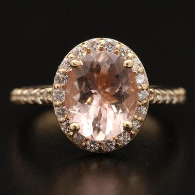 14K Morganite and Diamond Halo Ring