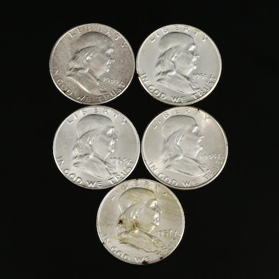 Five High Grade Franklin Silver Half Dollars, 1948 to 1957