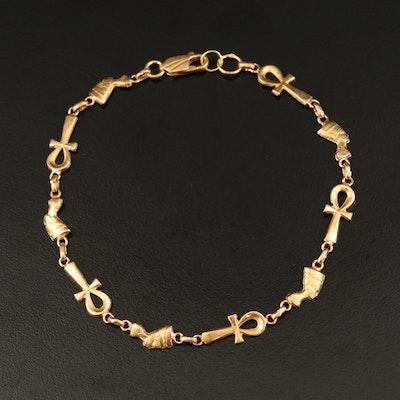 Egyptian 18K Ankh and Neferetiti Link Bracelet