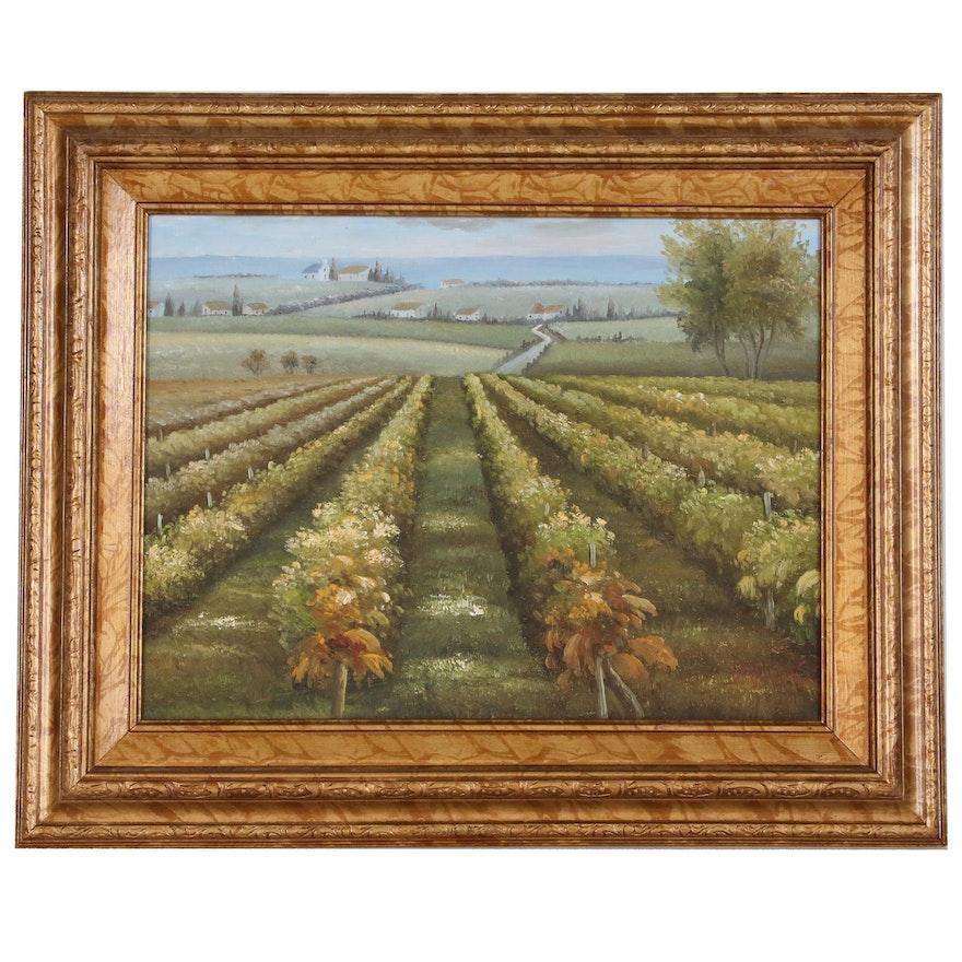 Vineyard Landscape Oil Painting, 21st Century