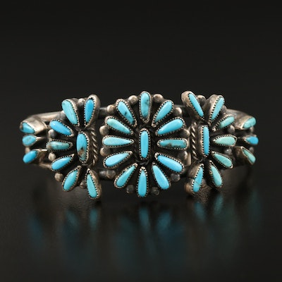 Western Sterling Silver Turquoise Petit Point Cuff
