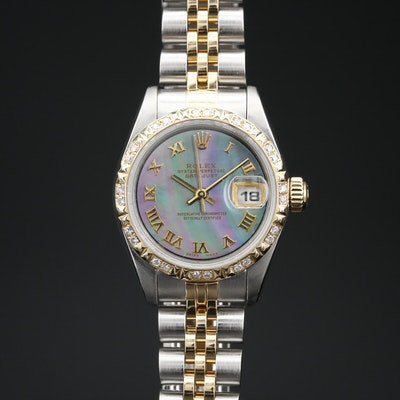 1996 Rolex Datejust 18K and Stainless Steel Diamond Automatic Wristwatch