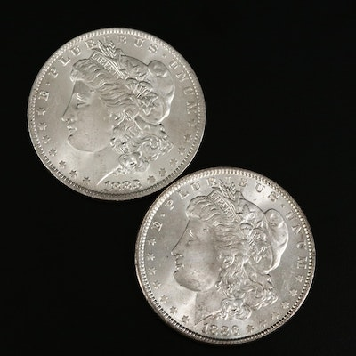 1883 and 1886 Morgan Silver Dollars
