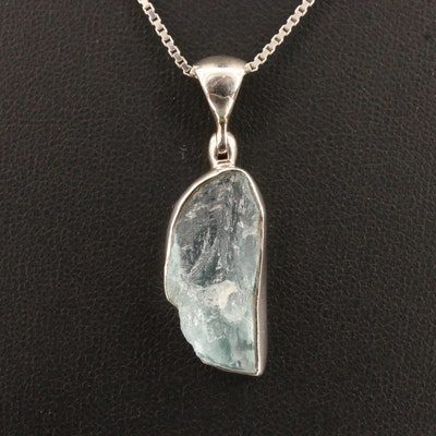 Sterling Freeform Aquamarine Pendant Necklace