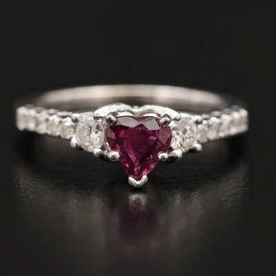 14K Heart Faceted Sapphire and Diamond Ring