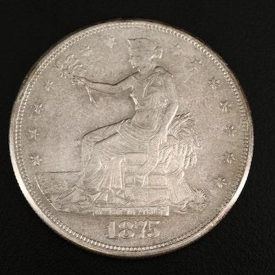 Low Mintage 1875 Trade Silver Dollar