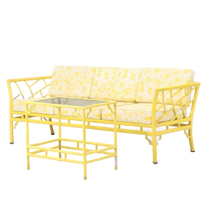 Meadowcraft Cast Aluminum Faux-Bamboo Patio Sofa and Side Table