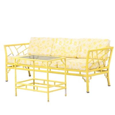 Meadowcraft Cast Aluminum Faux-Bamboo Patio Sofa and Side Table
