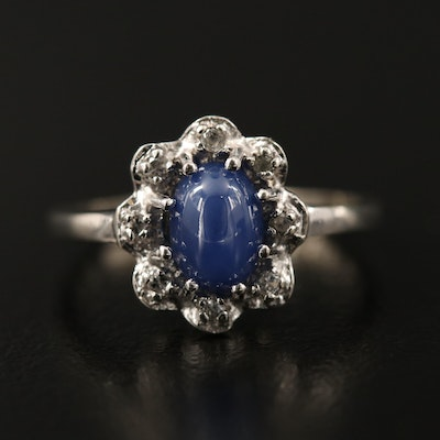 10K Star Sapphire and Topaz Halo Ring