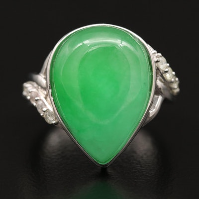 Sterling Silver Jadeite Ring with Diamond Accents