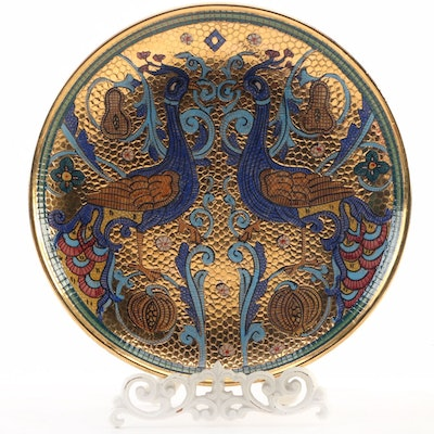 Mario Sambuco Deruta  Byzantine Mosaic  Decorative Charger with Metal Stand