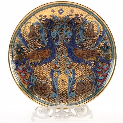 Mario Sambuco Deruta  Byzantine Mosaic  Decorative Charger with Metal Stand