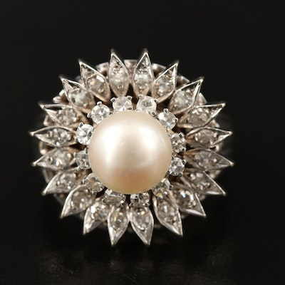 Vintage 14K Pearl and Diamond Ring with Palladium Accents
