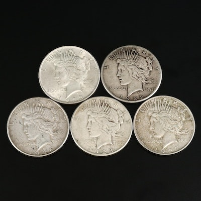 Five Circulated Peace Silver Dollars