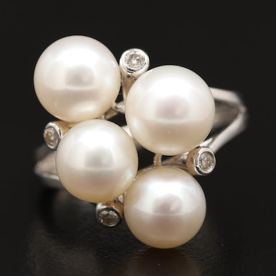 Sterling Silver Diamond and Pearl Cluster Ring
